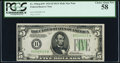 Fr. 1956-B* $5 1934 Mule Federal Reserve Star Note. PCGS Choice About New 58