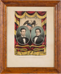 Political:Posters & Broadsides (pre-1896), Lincoln & Hamlin: A Marvelous Full-Bordered Currier Grand National Banner.. ...