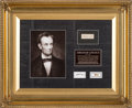 Political:Presidential Relics, Abraham Lincoln: Strands of Hair and Flag Relic From Funeral Train.. ...
