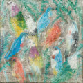 Paintings, Hunt Slonem (b. 1951). Fruit Doves, 2013. Oil on canvas. 29-1/2 x 29-1/2 inches (74.9 x 74.9 cm). Signed, titled, and da...