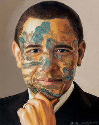 Huang Yan (b. 1966) Chinese Landscape-Obama from the Celebrity Series, 2009 Oil on linen<