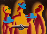 Mark Kostabi (b. 1960) Merger, 1987 Acrylic on canvas 66 x 90 inches (167.6 x 228.6 cm) Signed