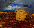 Paintings, Rainer Fetting (b. 1949). Strohballen, 1986. Oil on canvas. 19-1/2 x 23-1/2 inches (49.5 x 59.7 cm). Signed, titled, and...