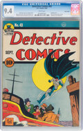 Golden Age (1938-1955):Superhero, Detective Comics #43 Billy Wright Pedigree (DC, 1940) CGC NM 9.4 White pages....