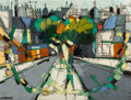Paintings, Claude Venard (French, 1913-1999). Boulevard, mid-20th century. Oil on canvas. 46-1/4 x 36 inches (117.5 x 91.4 cm). Sig...