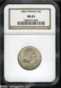 Coins of Hawaii: , 1883 25C Hawaii Quarter MS65 NGC. ...