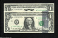 Error Notes:Ink Smears, Fr. 1909-K $1 1977 Federal Reserve Notes. Two Consecutive Examples.Gem Crisp Uncirculated.... (2 notes)