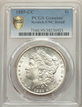 1885-CC $1 -- Scratch -- PCGS Genuine. Unc Details. NGC Census: (21/10839 and 0/252+). PCGS Population: (48/22552 and 0/...