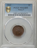 Indian Cents, 1865 1C Fancy 5 MS64 Brown PCGS. PCGS Population: (81/22 and 1/0+). NGC Census: (4/1 and 0/1+). CDN: $225 Whsle. Bid for pr...