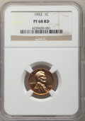 1953 1C PR68 Red NGC. NGC Census: (289/9). PCGS Population: (29/3). CDN: $175 Whsle. Bid for problem-free NGC/PCGS PR68...