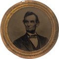 Political:Ferrotypes / Photo Badges (pre-1896), Abraham Lincoln: Largest 1864 Ferrotype Badge.. ...