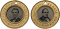 Political:Ferrotypes / Photo Badges (pre-1896), Abraham Lincoln: Dead-Mint, Pristine Back-to-Back Ferrotype.. ...