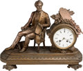 Political:3D & Other Display (pre-1896), Abraham Lincoln: Large Ornate Seated Statue Clock.. ...