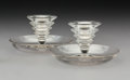 Glass, Pair R. Lalique Clear Glass Candlesticks, post-1945. Marks: R. Lalique, France. 2-3/4 x 5-1/4 x 5-1/4 inches (7.0 x 13.3... (Total: 2 Items)