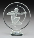 Glass, R. Lalique Archer Clear and Frosted Glass Automobile Mascot, circa 1926. Marks: R. LALIQUE. 4-3/4 x 4 x 2 in...