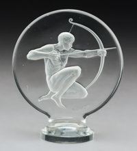 R. Lalique Archer Clear and Frosted Glass Automobile Mascot, circa 1926 Marks: R. LALIQUE 4-3/4 x 4 x 2 in