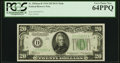Fr. 2054-D $20 1934 Dark Green Seal Mule Federal Reserve Note. PCGS Very Choice New 64PPQ