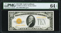 Fr. 2400 $10 1928 Gold Certificate. PMG Choice Uncirculated 64 EPQ