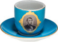 Political:3D & Other Display (pre-1896), Abraham Lincoln: Photographic Porcelain Cup & Saucer. . ...