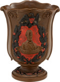 Political:3D & Other Display (pre-1896), Abraham Lincoln: Period Redware Vase. . ...