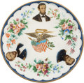 Political:3D & Other Display (1896-present), AbrahamLincoln: Stunning Multicolor China Plate picturing Lincoln with Grant and Sherman. . ...