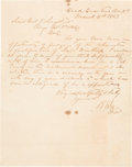 Autographs:Military Figures, Robert E. Lee: Letter Signed (LS) To General Longstreet Regarding Appointment.. ...