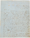 """Autographs:Military Figures, Thomas J. """"Stonewall"""" Jackson: Autograph Letter Signed [ALS] Promising to Make Good on a Loan Used to Purchase Muskets from Ha..."""