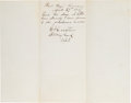 Autographs:Military Figures, General George Custer: Autograph Note Signed (ANS) From Fort Hays, Kansas.. ...