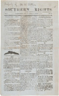 """Miscellaneous:Ephemera, """"Southern Rights"""" Newspaper Published in Jacksonville, Florida on """"Necessity Paper"""".. ..."""