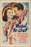 """Movie Posters:Romance, Hard to Get (Warner Brothers, 1938). Folded, Fine+. One Sheet (27"""" X 41""""). Romance.. ..."""