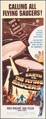 "Earth vs. the Flying Saucers (Columbia, 1956). Folded, Very Fine/Near Mint. Insert (14"" X 36""). Science Fictio..."