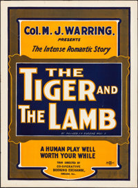 """The Tiger and the Lamb (Col. M. J. Warring, 1909). Rolled, Fine/Very Fine. Theater Poster (20.75"""" X 28""""). Misc..."""