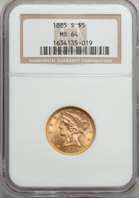 1885-S $5 MS64 NGC. NGC Census: (471/120). PCGS Population: (456/86). CDN: $575 Whsle. Bid for problem-free NGC/PCGS MS6...