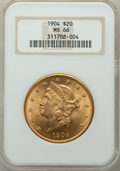 1904 $20 MS66 NGC. NGC Census: (279/1). PCGS Population: (213/3). MS66. Mintage 6,256,797