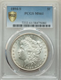 Morgan Dollars, 1894-S $1 MS61 PCGS. PCGS Population: (321/3360 and 0/116+). NGC Census: (321/1639 and 0/34+). CDN: $750 Whsle. Bid for pro...
