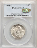 1928-D 25C MS64 PCGS. Gold CAC. PCGS Population: (973/775). NGC Census: (534/527). MS64. Mintage 1,627,600