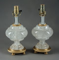Lighting:Lamps, A Pair of Louis XVI-Style Gilt-Bronze Mounted Rock Crystal Table Lamps. 14 x 6-1/2 inches (35.6 x 16.5 cm) (lamp bases, each... (Total: 2 )