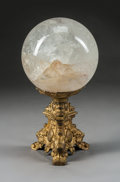 Carvings, A Rock Crystal Sphere on Baroque-Style Gilt Bronze Stand