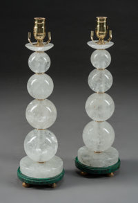 A Pair of Art Moderne-Style Rock Crystal and Malachite Table Lamps 1-1/2 x 6 inches (3.8 x 15.2 cm)
