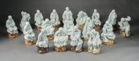 A Set of Eighteen Chinese Porcelain Luohan Figures 17 x 9 x 8 inches (43.2 x 22.9 x 20.3 cm) (largest)