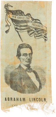 Abraham Lincoln: Distinctive 1860 Portrait Ribbon