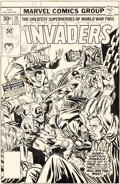 Original Comic Art:Covers, Gil Kane and Frank Giacoia Invaders #18 Cover Captain America Original Art (Marvel, 1977)....