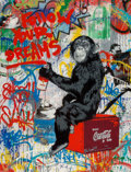 Paintings, Mr. Brainwash (b. 1966). Follow Your Dreams, 2012. Acrylic, spray paint, collage, plaster and enamel on canvas laid down...