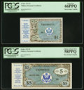 Series 472 $1 First Printing PCGS Gem New 66PPQ; Series 472 $5 First Printing PCGS Choice About New 58PPQ.<