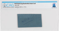 Neil Armstrong Handwritten Name Card (First Name) Directly From The Armstrong Family Collection™, CAG Certified
