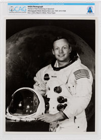 Neil Armstrong Original NASA White Spacesuit Photograph Directly From The Armstrong Family Collection™, CAG Certified...