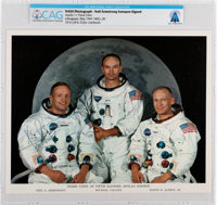 NASA: Neil Armstrong Autopen-Signed Apollo 11 White Spacesuit Crew Color Photo Directly From The Armstrong Family Collec...