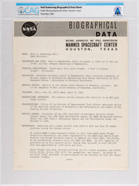 NASA: Neil Armstrong Biographical Data Sheet Directly From The Armstrong Family Collection™, CAG Certified