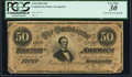 """Confederate Notes:1864 Issues, """"Representing Nothing on God's Earth Now"""" Confederate Poem Printed on Backing T66 $50 1864 PCGS Very Fine 30.. ..."""