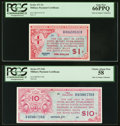 Series 471 $1 PCGS Gem New 66PPQ; Series 471 $10 PCGS Choice About New 58